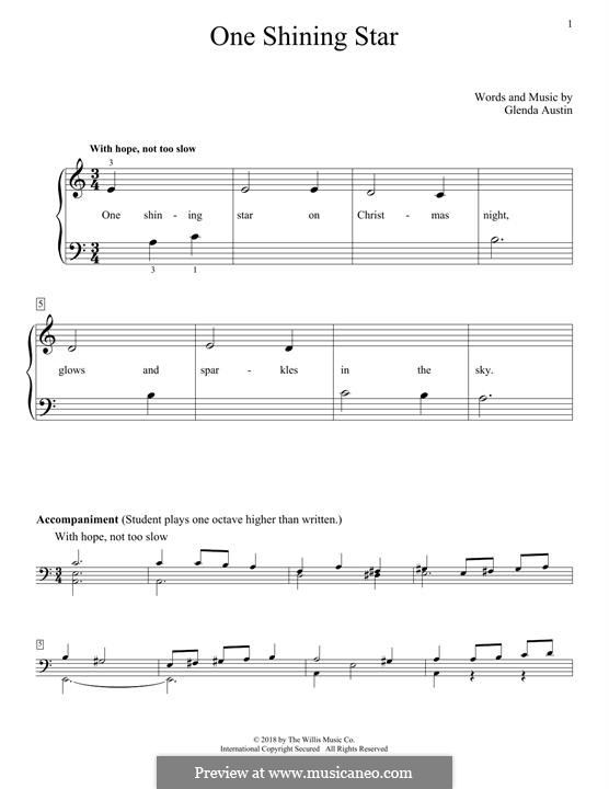 One Shining Star: Für Klavier by Glenda Austin