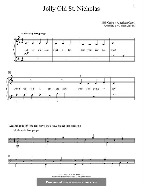 Jolly Old St. Nicholas: Für Klavier by folklore