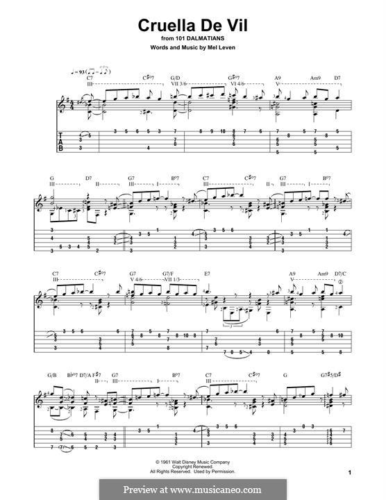 Cruella de Vil (from 101 Dalmatians): Für Gitarre mit Tabulatur by Mel Leven