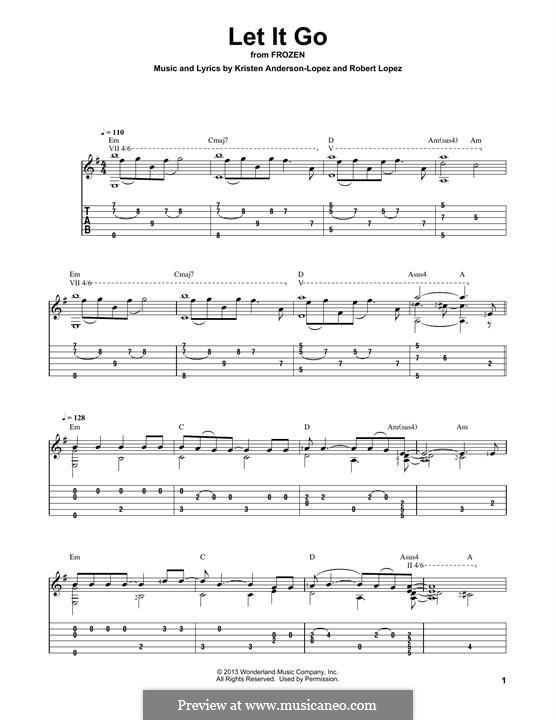 Let It Go (from Frozen): Für Gitarre mit Tabulatur by Robert Lopez, Kristen Anderson-Lopez