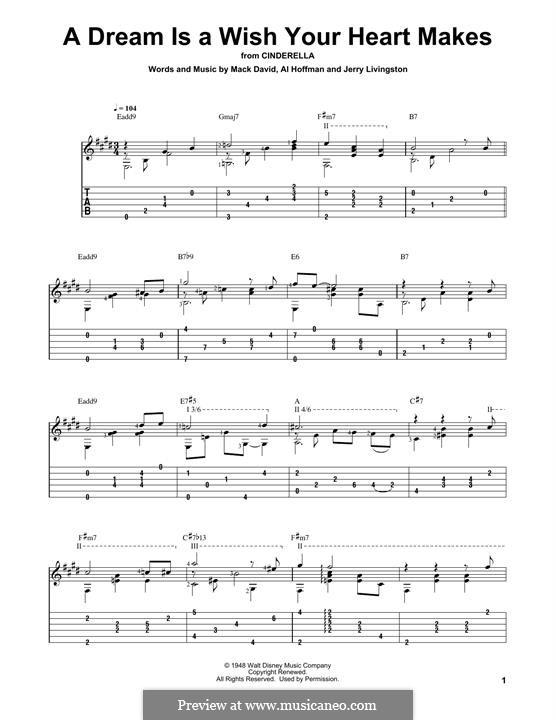 A Dream Is a Wish Your Heart Makes (from Disney's Cinderella): Für Gitarre mit Tabulatur by Al Hoffman, Jerry Livingston, Mack David