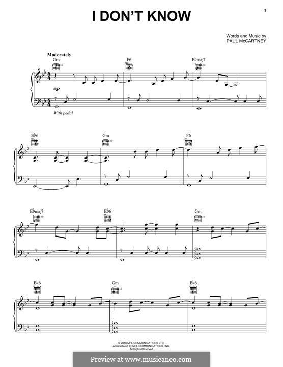 I Don't Know: Für Stimme und Klavier (oder Gitarre) by Paul McCartney