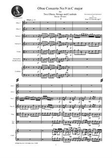Dodici concerti a cinque, Op.9: Concerto No.9 in C major - score and parts by Tomaso Albinoni