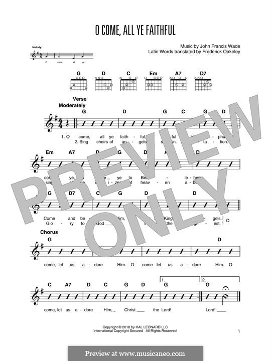 O Come, All Ye Faithful (Printable Scores): Für Gitarre mit Tabulatur by John Francis Wade