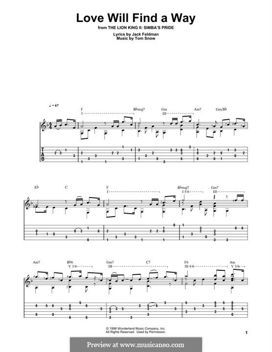 Love Will Find a Way (from The Lion King II: Simba's Pride): Für Gitarre mit Tabulatur by Tom Snow