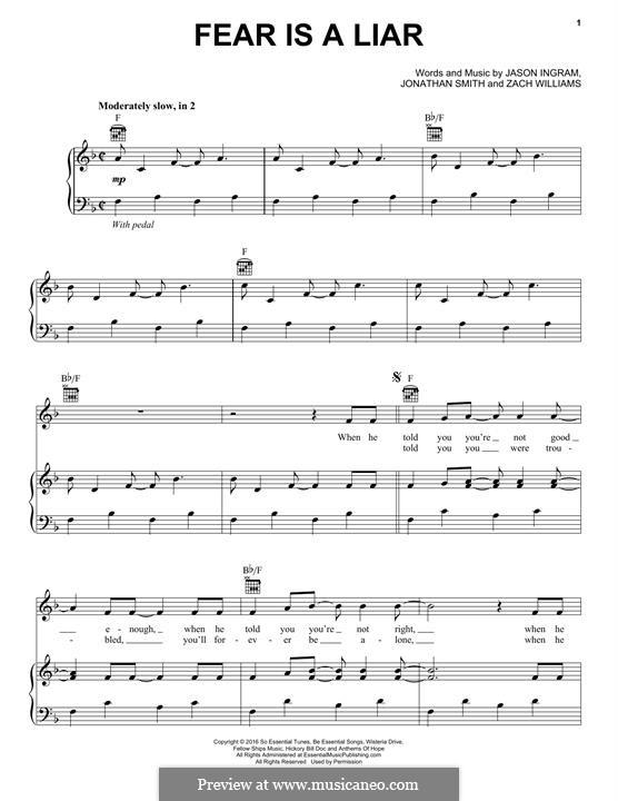 Fear is a Liar: Für Stimme und Klavier (oder Gitarre) by Jason David Ingram, Jonathan Smith, Zach Williams