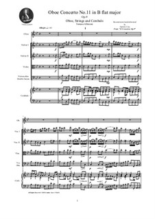Dodici concerti a cinque, Op.9: Concerto No.11 in B Flat Major - score and parts by Tomaso Albinoni