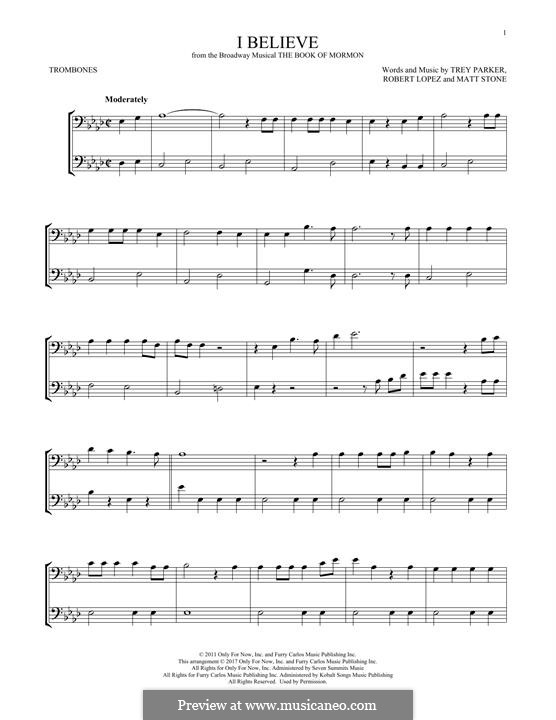 I Believe (from The Book of Mormon): For two trombones by Robert Lopez, Trey Parker, Matt Stone