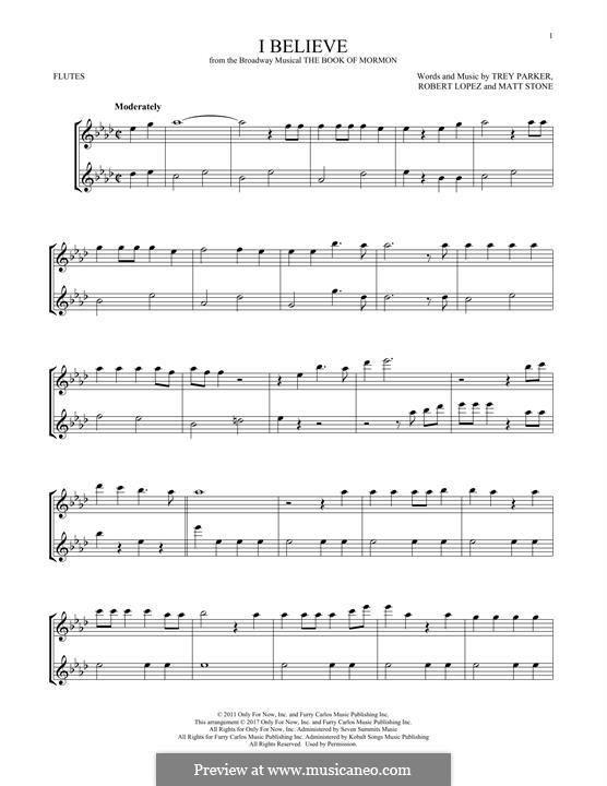 I Believe (from The Book of Mormon): Für zwei Flöten by Robert Lopez, Trey Parker, Matt Stone