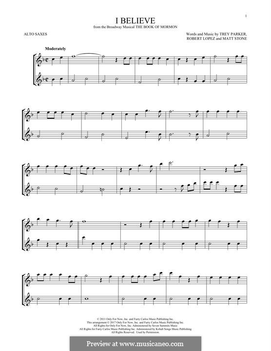 I Believe (from The Book of Mormon): For two alto saxophones by Robert Lopez, Trey Parker, Matt Stone