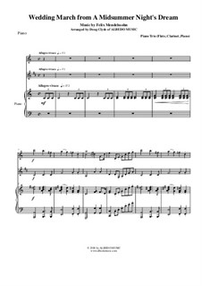 Hochzeitsmarsch: For flute, clarinet and piano by Felix Mendelssohn-Bartholdy