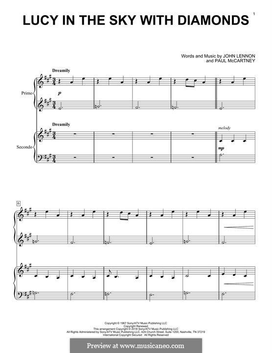 Lucy in the Sky with Diamonds (The Beatles): Für Klavier, vierhändig by John Lennon, Paul McCartney
