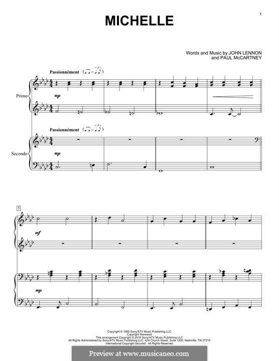Michelle (The Beatles), for One Instrument: Für Klavier, vierhändig by John Lennon, Paul McCartney