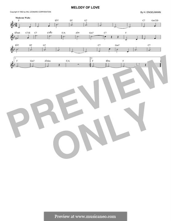 Melody of Love, Op.600: Melodische Linie by Hans Engelmann