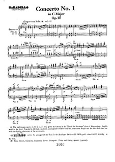 Konzert for Klavier und Orchester Nr.1, Op.15: Movement I, for piano four hands by Ludwig van Beethoven