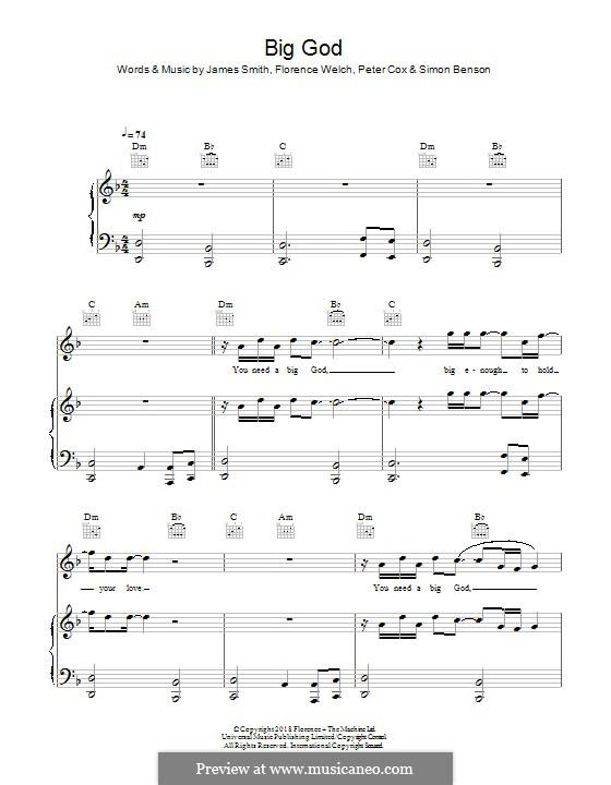 Big God (Florence and The Machine): Für Stimme und Klavier (oder Gitarre) by Florence Welch, James Smith, Peter Cox, Simon Benson
