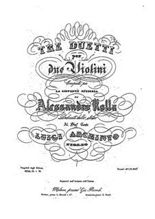 Drei Duos für zwei Violinen, BI 227, 199, 166: Drei Duos für zwei Violinen by Alessandro Rolla