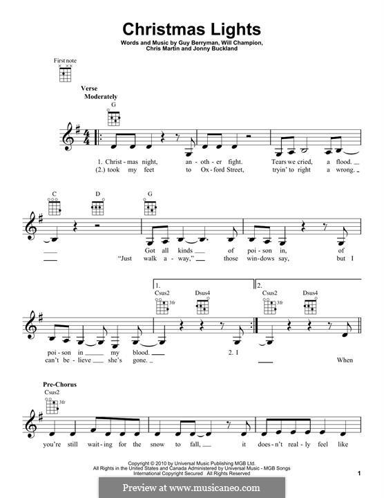Christmas Lights (Coldplay): Für Ukulele by Chris Martin, Guy Berryman, Jonny Buckland, Will Champion