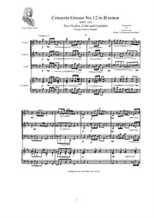 Concerto Grosso Nr.12 in h-Moll, HWV 330: Version for two violins, cello and cembalo (or piano) by Georg Friedrich Händel