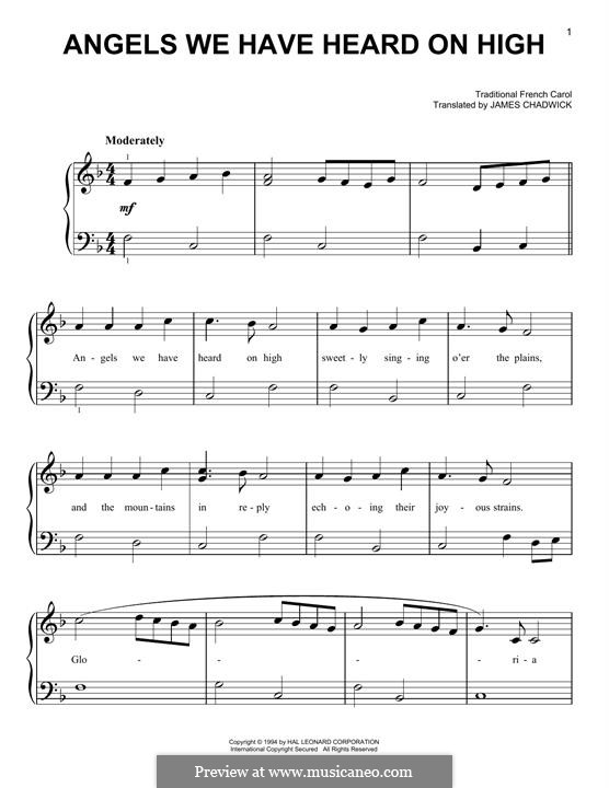 Angels We Have Heard on High, for Piano: Für einen Interpreten by folklore