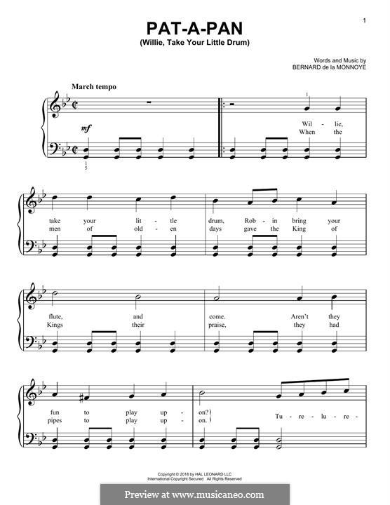 Pat-a-Pan (Willie, Take Your Little Drum): Für Klavier by Bernard de la Monnoye
