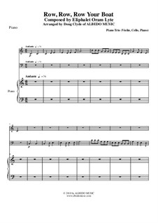 Row, Row, Row Your Boat: For piano trio (violin, cello, piano) by folklore