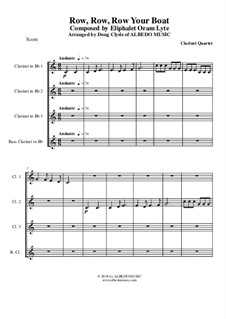 Row, Row, Row Your Boat: For clarinet quartet by folklore