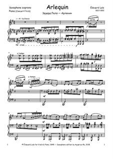 Harlekin für Violine und Klavier, Op.4: For soprano saxophone and piano by Édouard Lalo
