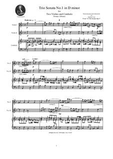 Zwölf Triosonaten für zwei Violinen und Basso Continuo, Op.1: Trio Sonata No.1 in D minor by Tomaso Albinoni