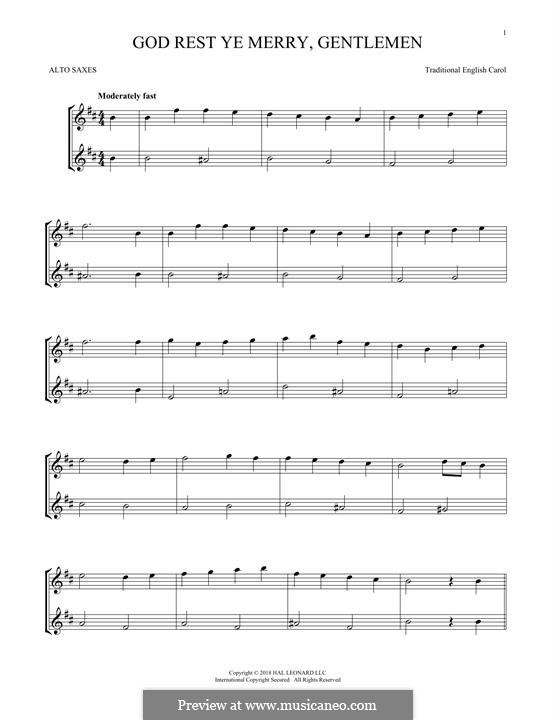 God Rest You Merry, Gentlemen (Printable Scores): For two alto saxophones by folklore