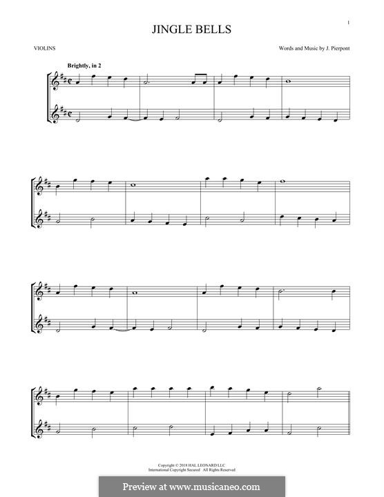 Jingle Bells (Printable scores): Für zwei Violinen by James Lord Pierpont