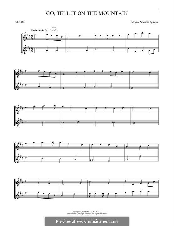 Go, Tell it on the Mountain (Printable Scores): Für zwei Violinen by folklore