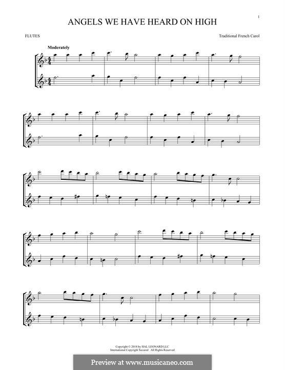 Angels We Have Heard on High: Für zwei Flöten by folklore