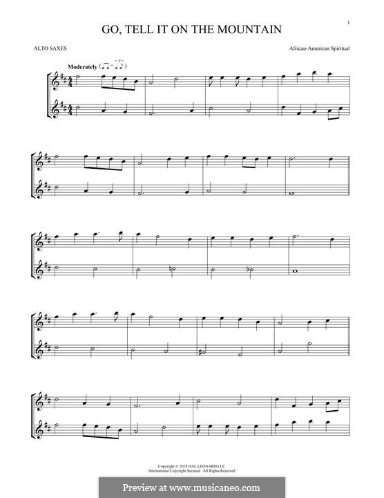Go, Tell it on the Mountain (Printable Scores): For two alto saxophones by folklore