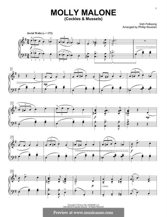 Molly Malone: Für Klavier, leicht by folklore