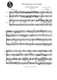 Zwölf Triosonaten für zwei Violinen und Basso Continuo, Op.1: Trio Sonata No.5 in C major by Tomaso Albinoni