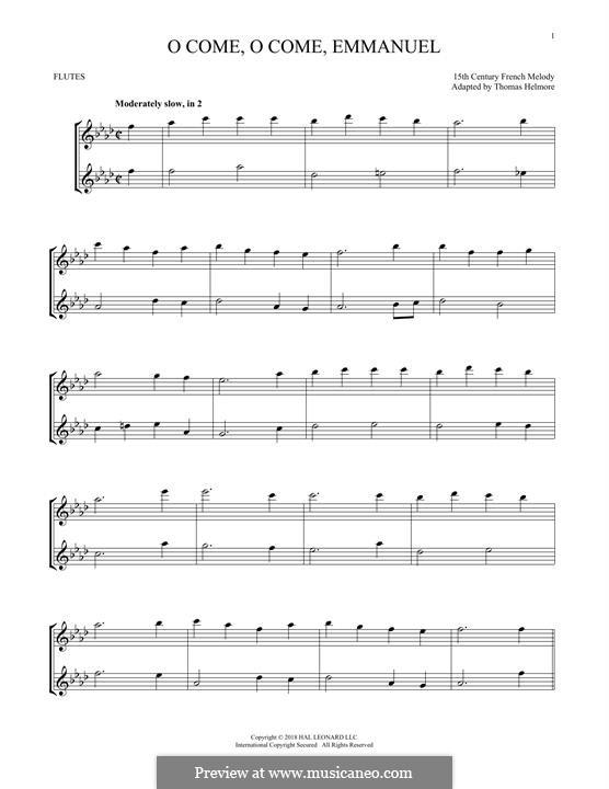 O Come, O Come, Emmanuel: Für zwei Flöten by folklore