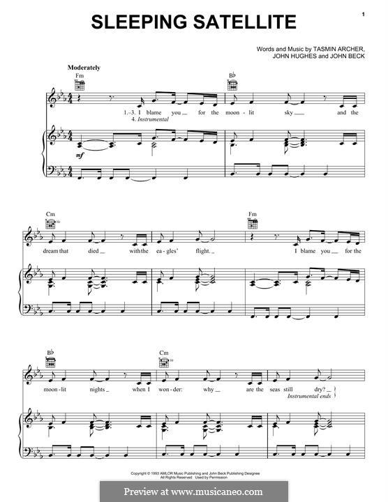 Sleeping Satellite: Für Stimme und Klavier (oder Gitarre) by John Hughes, John Beck, Tasmin Archer