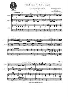 Zwölf Triosonaten für zwei Violinen und Basso Continuo, Op.1: Trio Sonata No.7 in G major by Tomaso Albinoni
