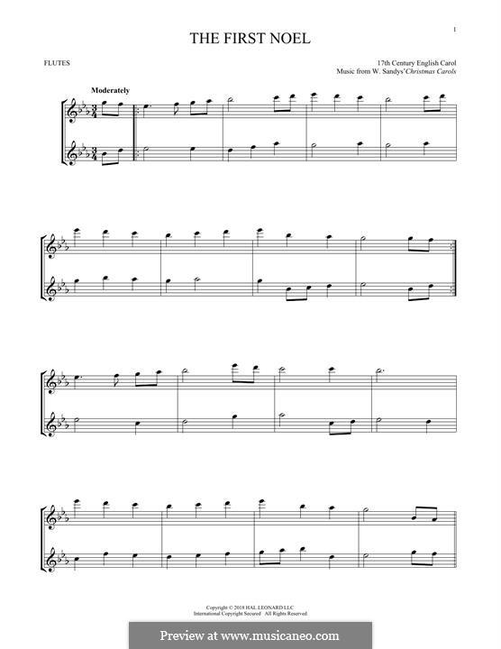 The First Nowell (The First Noël), Printable scores: Für zwei Flöten by folklore
