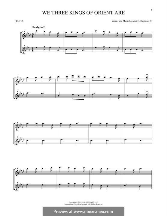 We Three Kings of Orient are: Für zwei Flöten by John H. Hopkins Jr.
