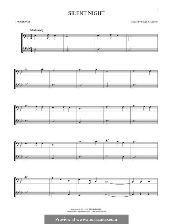 Stille Nacht, heilige Nacht, für Zwei Instrumente: For two trombones by Franz Xaver Gruber