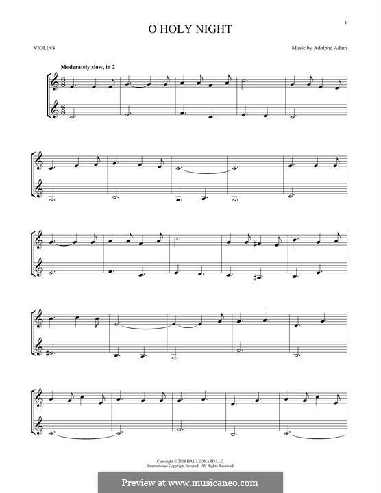 O Holy Night (Printable Scores): Für zwei Violinen by Adolphe Adam