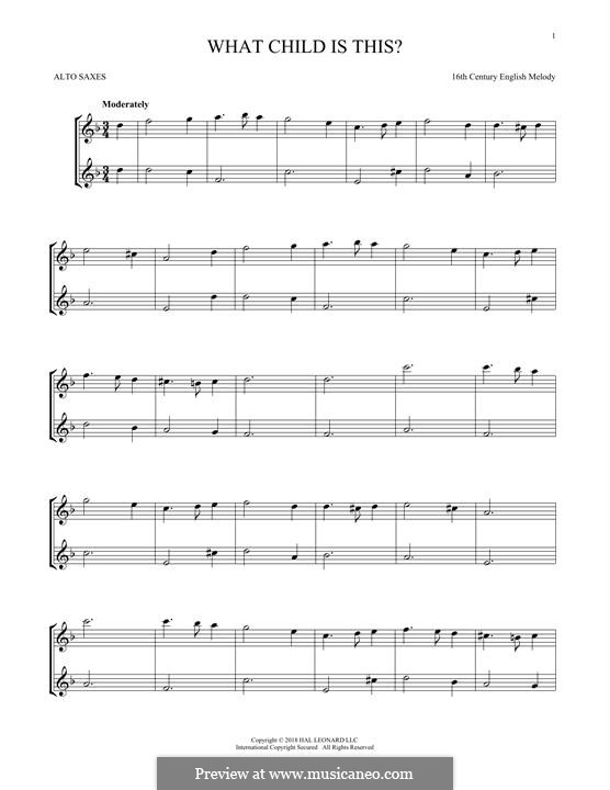 What Child is This (Christmas Carol): For two alto saxophones by folklore