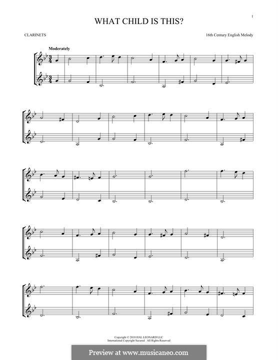 What Child is This (Christmas Carol): Für zwei Klarinetten by folklore