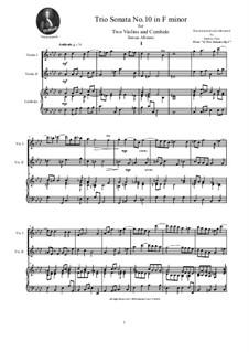 Zwölf Triosonaten für zwei Violinen und Basso Continuo, Op.1: Trio Sonata No.10 in F minor by Tomaso Albinoni