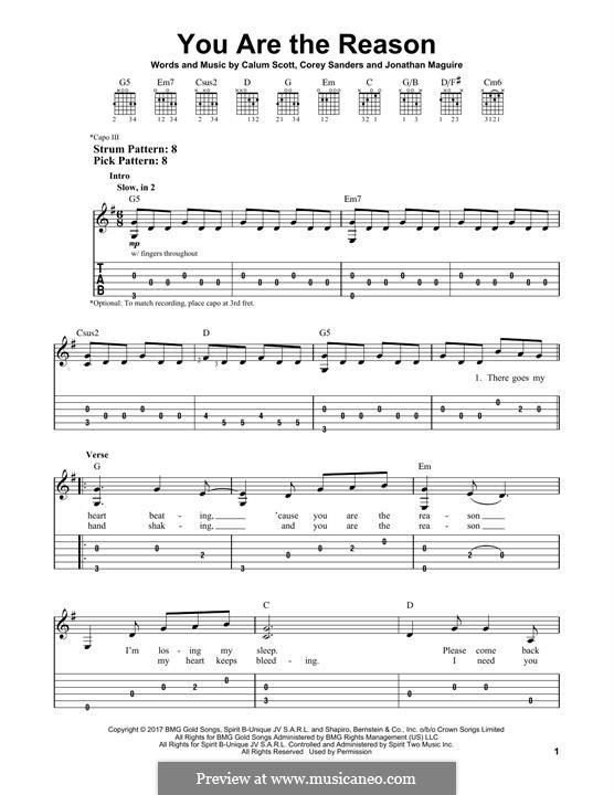 You are the Reason: Für Gitarre mit Tabulatur by Calum Scott, Corey Sanders, Jonathan Maguire