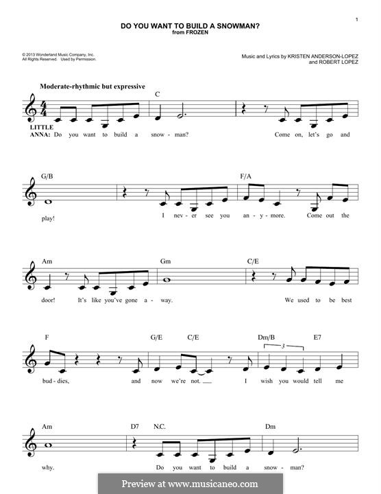 Do You Want to Build a Snowman? (Kristen Bell): Melodische Linie by Robert Lopez, Kristen Anderson-Lopez
