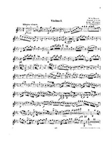 Konzert für Klavier und Orchester Nr.14 in Es-Dur, K.449: Bearbeitung für Streichquartett – Violinstimme I by Wolfgang Amadeus Mozart