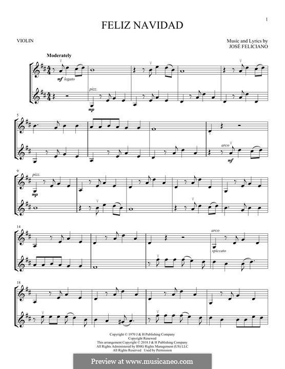 Feliz Navidad: Für zwei Violinen by José Feliciano